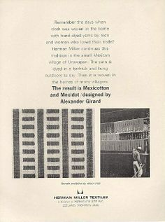 """""""The result is Mexicotton and Mexidot / designed by Alexander Girard"""" Ad, Herman Miller Textiles, 1965"""