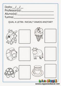 Atividades de alfabetização para imprimir: trabalhando o som inicial das palavras ou fonemas iniciais - ESPAÇO EDUCAR