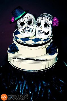 awesome day of the dead wedding cake