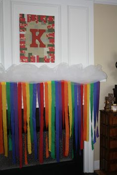 """LOVE this """"fluffy cloud"""" take on decorating for a child's rainbow party! Care Bear Party, Care Bear Birthday, My Little Pony Birthday Party, Rainbow Birthday, First Birthday Parties, Birthday Ideas, 5th Birthday, Rainbow Invitations, Party Streamers"""