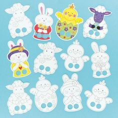 Baker Ross Easter Finger Puppets in Card Designs for Children to Colour-in and Play with (Pack of Finger Puppet Patterns, Felt Finger Puppets, Paper Puppets, Puppet Crafts, Diy Ostern, Operation Christmas Child, Easter Colors, Easter Crafts For Kids, Craft Activities