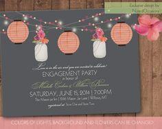Mason Jar & Paper Lanterns Engagement Party Invite, Bridal Shower, Garden Party | couples shower hanging lights Custom Printable Design on Etsy, $30.00