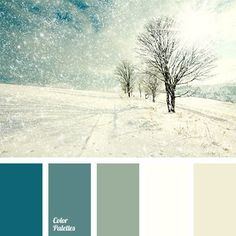 """Colours of blizzard can shine in different shades - cold and warm if it is a sunny day. This palette is good to use for kitchen or living room, as it """"exhi."""