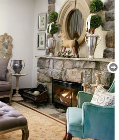 texture of the fireplace and chunky mirror