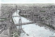 The Houses of Parliament and the London Eye, done from memory by Stephen Wiltshire, artist with autism.