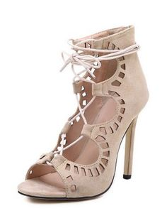 Beige Suedette Cut Out Ankle Tie Heeled Sandals