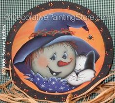 Witch and Kitty ePacket - Susan Kelley - PDF DOWNLOAD #HalloweenWitch #HalloweenBowl #PaintedBowl