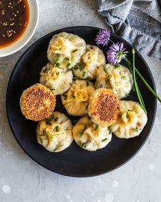 These shiitake mushroom dumplings are pan fried with a layer of sesame seeds on the bottom and served with a simple honey ginger teriyaki sauce for dipping. Vegetarian Recipes, Cooking Recipes, Healthy Recipes, Good Food, Yummy Food, Stuffed Mushrooms, Stuffed Peppers, Asian Recipes, Asian Desserts