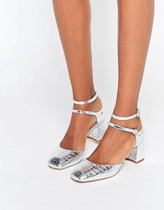 Image 1 ofKG By Kurt Geiger Dolly Silver Croc Mid Heeled Shoes
