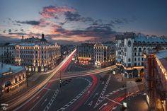 Площадь Льва Толстого, Каменноостровский проспект, Петроградка, город, закат, крыши