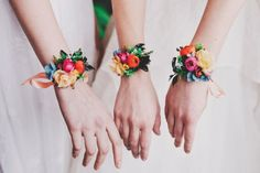 Bridesmaids flower bracelets See more here: https://www.etsy.com/listing/529762401/colorful-flower-bracelet-summer-wedding