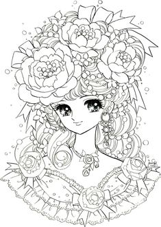Adult Back To Childhood Manga Girl Flowers Coloring Pages Printable And Book Print For Free Find More Online Kids Adults
