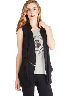Untold Intrigue Vest - Woven, Black, Solid, Exposed zipper, Urban, Sleeveless, Good, Pockets, 90s, Black