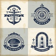 Set of Vintage Nautical Labels - Decorative Symbols Decorative