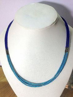Free Shipping Worldwide Afghan Tiny Seed Small Beads Turquoise and Lapis Lazuli Stone Multi Strand String Handmade Vintage Gypsy