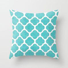 Aqua Clover Throw Pillow Geometric Pillow by LushTartArtProject
