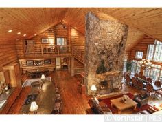 Look at those counters! Love the open plan! (MN, Lake Sylvia Log Home)