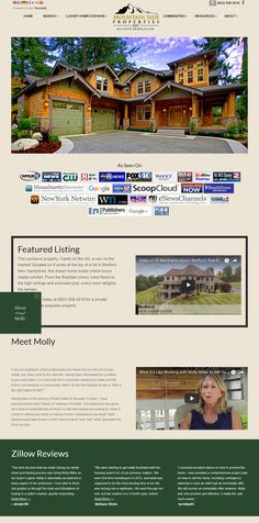This new real estate web design has a contemporary look, very clean, easy to navigate. Molly Miller specializes in luxury real estate in New Hampshire and Custom Website, New Hampshire, Luxury Real Estate, Luxury Homes, Web Design, Marketing, Contemporary, Boutique, Mansions