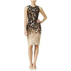 Calvin Klein Womens Ombre Animal Print Party Dress
