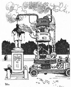 HEATH ROBINSON:Machine to express criticism of statues.Tar & Feathers.SMALL;1935 Vintage Maps, Vintage Prints, Rube Goldberg Machine, Heath Robinson, Coloring Pages, Colouring, Pencil Drawings, Inventions, Illustrators