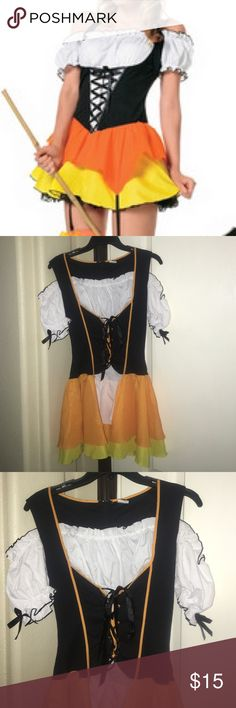 Leg Avenue Candy Corn maiden witch costume fits L Leg Avenue Candy Corn maiden witch costume fits size large tag reads sz XL but runs smaller will ship same day as purchased final price listed offers not accepted Leg Avenue  Other