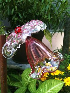 Garden Flower Art mike urban's glass flowers; make your own with different pieces of