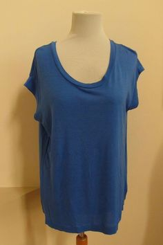 Gap Top M Blue Allure Scoop Neck Knit Woven Polyester Back Boxy Relaxed 2012 #GAP #KnitTop #Casual