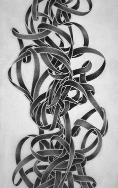 "Zoe Keramea, ""Knots X,"" 1994 (detail). Graphite on paper, each 96 x 12 in. Illustration Sketches, Beautiful Patterns, Wood Carving, Textures Patterns, Zentangle, Paper Art, Knots, Sketch Books, Curved Lines"