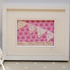Pretty as a picture - personalised textile art gift for baby girls £36.00