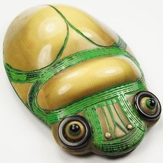 1920s French Egyptian Revival Celluloid Scarab Beetle Pin