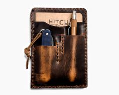 Brown Nut Leather Notebook Caddy 2.0 - Horween Leather Field Notes Cover, EDC Notebook Holder for Everyday Carry