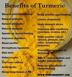 Turmeric is amazing! Put it in smoothies, on roasted veggies or in curry. Very versatile and a natural anti-inflammatory.