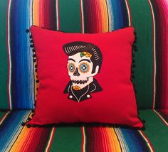 Day of the Dead Elvis Sugar Skull Embroidered Calavera on Red Pillow with Black Ball Fringe on Etsy, $68.00 AUD