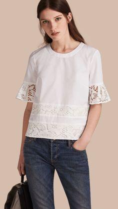 Lace Detail Cotton T-shirt in White - Women Cute Fashion, Diy Fashion, Fashion Beauty, Luxury Fashion, Womens Fashion, Long Skirt Outfits, Mode Hijab, Beautiful Blouses, Refashion