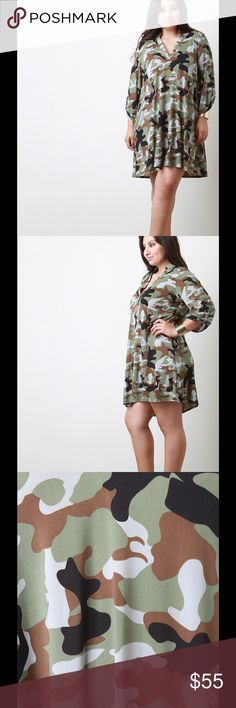 Camouflage V-Neck Shift Dress Description This plus size dress features smooth stretch fabric, camouflage print, deep v-neckline, long sleeves with button tab, and relaxed fit. Accessories sold separately. Made in USA. 92% Polyester, 8% Spandex...UNG69274CMF2X Dresses Midi