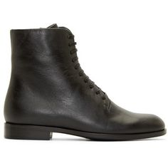 Jil Sander Navy Black Leather Lace-Up Boots