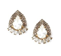 Sole Society New Arrivals - Oversized Oval Crystal Stud