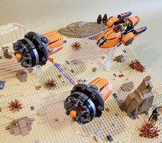 "Daaz Spartaaz's podracer ""The Splitter"" Star Wars Boba Fett, Star Wars Clone Wars, Star Wars Art, Lego Star Wars, Star Trek, Amazing Spider Man Comic, Lego Boards, Lego Ship, Lego Pictures"
