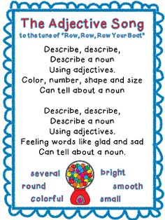 Classroom Freebies Too: Adjective Song Freebie!Classroom Freebies Too: Adjective Song Freebie! Grammar And Punctuation, Teaching Grammar, Teaching Language Arts, Classroom Language, Teaching Writing, Adjectives Grammar, 2nd Grade Grammar, Adjectives Activities, Teaching Posters