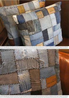【楽天市場】DENIM CUSHION PATCHWORK(デニムクッションパッチワーク) 45×45 クッション 070490:家具・インテリア・雑貨 ビカーサ5,500 Blue Jean Quilts, Denim Scraps, Japanese Sewing Patterns, Memory Pillows, Tie Quilt, Denim Ideas, Sewing Art, Recycled Denim, Denim Bag