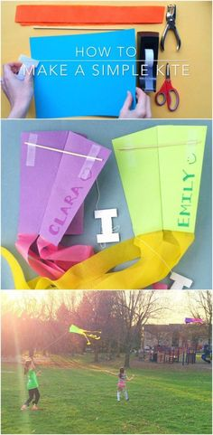 How to Make a Simple Kite -- step by step video tutorial. Love how easy this is!!