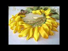 Часть 3. Еmbroidery ribbons. Вышивка лентами. Цветы, птицы, розы, подсолнухи. - YouTube