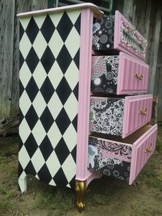 This is a Ditsy Chick original. Handpainted upcycled chest of drawers from french provencial. I never know what the finished design will be,