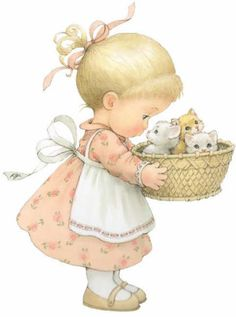 Little Girl & Her Kittens ¦¦ Ruth Morehead Graphics Vintage Pictures, Vintage Images, Cute Images, Cute Pictures, Sarah Kay, Picture Postcards, Holly Hobbie, Cute Illustration, Vintage Cards