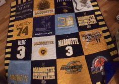 Marquette t-shirt quilt, a Christmas gift to Nathan Ziarek from his parents.