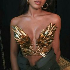 $50 - $250 Amazing Beautiful Delicate Bright Gold Feather Detail Strapless Low Plunge Bird Wing Crop Top Haute Couture Designer