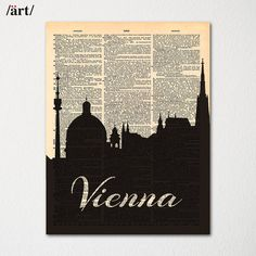Vienna Austria City Skyline Dictionary Art Print / Cityscape Poster / Travel Art Decor