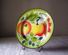 vintage enamelware plate with fruit design by allthebestvintage on etsy- colors for my next kitchen.