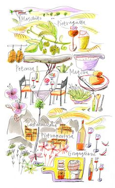 Giulia Binfield - Food Map illustration of Basilicata region of Italy for La Repubblica