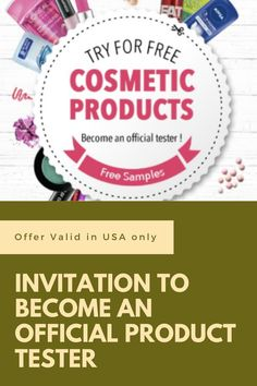 Become am Official Product Tester. Free Beauty Samples, Free Cosmetic Samples, Free Samples, Become A Product Tester, Get Started, Cosmetics, Makeup, Make Up, Face Makeup